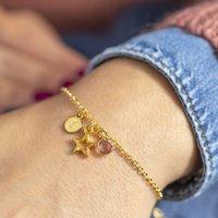 Personalised Gold Star Birthstone Charm Bracelet, Gold