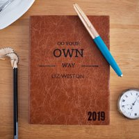 2019 Diary, Personalised, Luxury Leather Colour Choices, Chocolate/Russet/Red