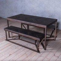 Tower Dark Grey Herringbone Oak Solid Dining Table