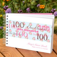 Personalised 100th Birthday Guest Book, White/Black