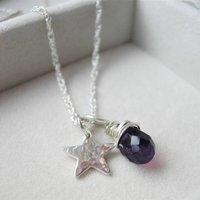 Amethyst Hammered Star Necklace