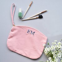 Embroidered Monogram Cosmetic Bag, Pale Pink/Pink/Black