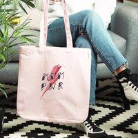 Mum Pwr Organic Slogan Tote Bag