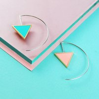 Double Sided Pink And Green Triangle Drop Earrings