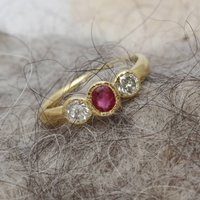 Ruby And Diamond Trilogy Cabochon Dulnain Ring