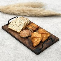Solid Wood Serving Tray With Metal Handles