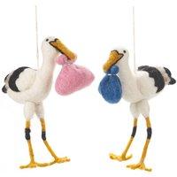 Handmade Felt Storks, Blue/Pink