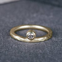 9ct Yellow Gold Offset Engagement Ring With Diamond, Gold