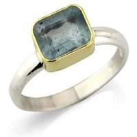 Aquamarine And Silver Ring Set In 18ct Gold, Silver