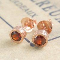 Garnet Rose Gold January Birthstone Stud Earrings, Gold