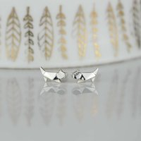 Stunning Silver Origami Cat Earrings, Silver