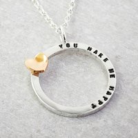 Silver Tiny Text Personalised Necklace Solid Gold Heart, Silver