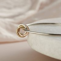 Personalised 9ct Gold And Silver Russian Ring Bangle, Silver