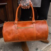 Personalised Buffalo Leather Classic Duffle In Tan