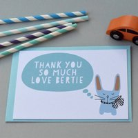 12 Personalised Bunny With A Bow Blue Thank You Cards, Blue