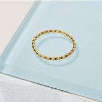 9ct Gold Skinny Twisted Stacking Ring, Gold