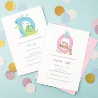 Personalised Alphabet Christening Invitations, Blue/Green/Pink