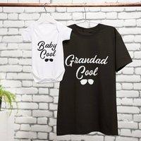 Personalised Grandad And Baby Cool T Shirt Babygrow Set, Charcoal/Navy