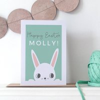 Personalised Children's Easter Bunny Card, Brown/White