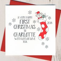Personalised Wobbly Eyes Baby's First Christmas Card