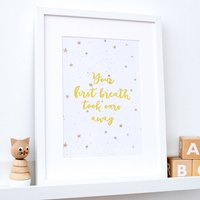 Gold Foil 'First Breath' Nursery Print
