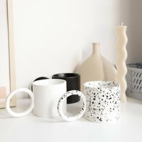 Klaudia Black White Speckle Round Handled Mug