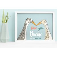 Personalised Devoted Ducks Print