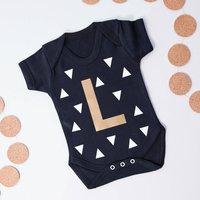 Personalised Initial Babygrow, Black/White/Gold