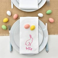 Personalised Linear Easter Bunny Rabit Napkin