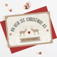 1st Married Christmas Lace Stag Christmas Card