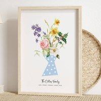 Birth Flower Family Print Unframed