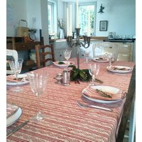 Block Printed Red Tablecloth And Six Napkins