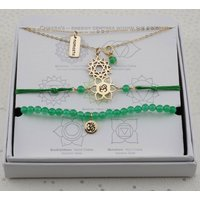 Heart Chakra Jewellery Set In Gold Or Silver, Silver