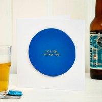 Personalised Leather Beer Mat Card, Black/Blue/Pink
