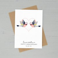 Personalised Love Birds Wedding Anniversary Card