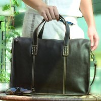 Stitched Detail Genuine Leather Laptop Brief Bag
