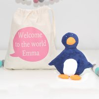 Organic Cotton Penguin Toy And Personalised Bag