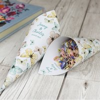 Butterfly Personalised Wedding Cones With Confetti