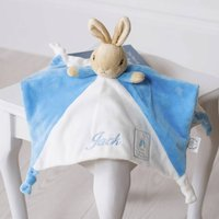 Personalised Peter Rabbit Comfort Blanket And Rattle, Beige/Blue/Grey
