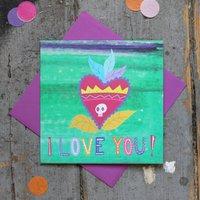 I Love You Sacred Heart Tattoo Valentines Card