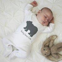 Personalised Baby Bear Sleepsuit, White/Teal/Navy