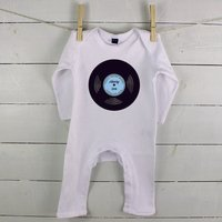 Totally Awesome Records Personalised Baby Rompersuit, Blue/Navy/Pink