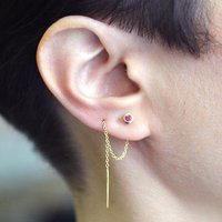 Ruby Birthstone Threader Gold Earrings, Gold