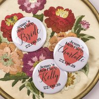 Personalised Pink Hearts Hen Party Badges