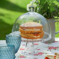 Beaded Glass Cake Stand With Cloche Lid