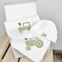 Organic Green Tractor Blanket, Bib And Beanie Gift Set