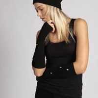 Cashmere Gloves Black Cashmere Skull Gloves