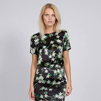 Floral Silk Satin Top With Short Sleeves