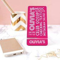 Personalised Name In Lights Mobile Phone Stand, Raspberry/Teal/Grey