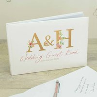 Personalised Floral Initials Wedding Guest Book